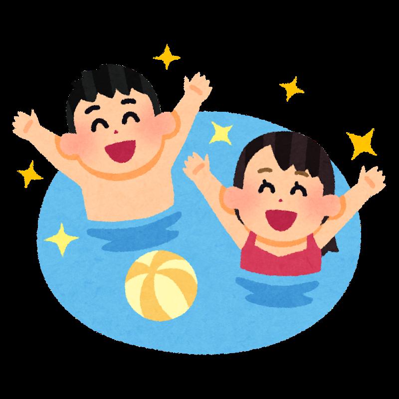 プールで遊ぶ人